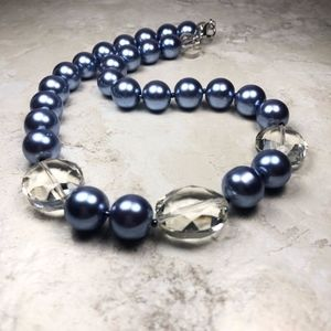 CTB Blue and Clear Beaded Necklace